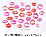 set lipstick kiss signs prints... | Shutterstock .eps vector #219574183