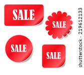 collection red stickers with an ... | Shutterstock .eps vector #219612133