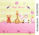 baby shower card with toys.  | Shutterstock . vector #219615943
