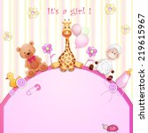 baby shower card with toys.  | Shutterstock . vector #219615967