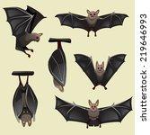 set of spooky halloween bats  | Shutterstock .eps vector #219646993