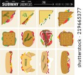 set of flat modern sandwiches... | Shutterstock .eps vector #219665377