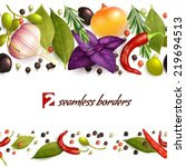 realistic herbs and spices... | Shutterstock . vector #219694513
