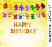 birthday greeting with a... | Shutterstock . vector #219719407