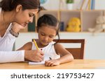 beautiful indian woman helping... | Shutterstock . vector #219753427