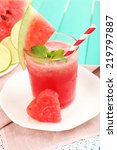 watermelon cocktail on table ... | Shutterstock . vector #219797887