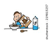 boy pouring cereal in bowl... | Shutterstock .eps vector #219815257