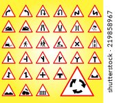 traffic signs collection vector | Shutterstock .eps vector #219858967