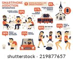 smartphone addiction... | Shutterstock .eps vector #219877657