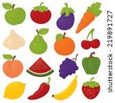 gradient free fruit and veg... | Shutterstock .eps vector #219891727