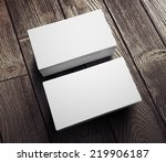 visit cards with wood | Shutterstock . vector #219906187