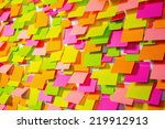 many of colorful stickers on a... | Shutterstock . vector #219912913