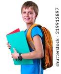 portrait of a schoolboy of... | Shutterstock . vector #219913897