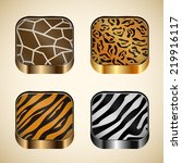 set of icons with wild animal...