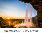 seljalandsfoss  sunset behind...   Shutterstock . vector #219917593