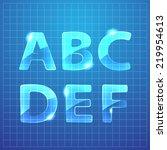 vector blue glass alphabet.... | Shutterstock .eps vector #219954613