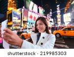Happy Woman Tourist Taking...