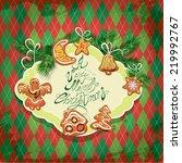 card of xmas gingerbread  ... | Shutterstock .eps vector #219992767