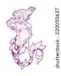 mermaid in pink. vector... | Shutterstock .eps vector #220050637