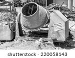 concrete mixer on a building...   Shutterstock . vector #220058143