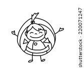 hand drawing cartoon character... | Shutterstock .eps vector #220071247