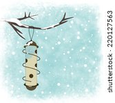 Winter Card With Bird Feeder