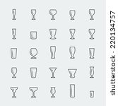 bar glasses vector icons set ...