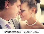 happy young bride and groom on... | Shutterstock . vector #220148263