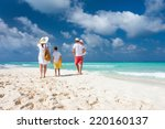 back view of a happy family on... | Shutterstock . vector #220160137