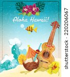 hawaii guitar tropical beach... | Shutterstock .eps vector #220206067