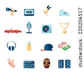 rap hip hop singing music flat... | Shutterstock .eps vector #220206517