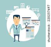 programmer works with programs... | Shutterstock .eps vector #220257697