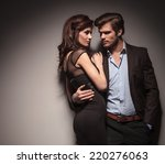 elegant couple embracing and... | Shutterstock . vector #220276063
