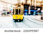 tram moving in the city center | Shutterstock . vector #220295587