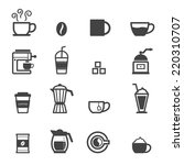 cup of coffee icons  mono... | Shutterstock .eps vector #220310707