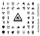 set of fire service black icons ... | Shutterstock .eps vector #220335613