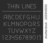 thin line alphabet and numbers  ... | Shutterstock .eps vector #220343053