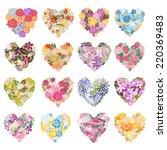 16 elegant floral hearts ... | Shutterstock .eps vector #220369483