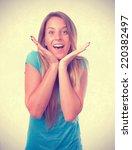smug girl laughing | Shutterstock . vector #220382497