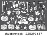 halloween doodles icons set... | Shutterstock .eps vector #220393657