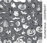 halloween doodles icons in... | Shutterstock .eps vector #220398247
