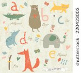 zoo alphabet with cute animals. ... | Shutterstock .eps vector #220423003