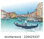 venice   grand canal. view of... | Shutterstock .eps vector #220425337