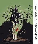 zombie hand halloween... | Shutterstock .eps vector #220450993