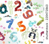 numbers like asian animals... | Shutterstock .eps vector #220472863