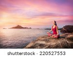 woman doing meditation in red... | Shutterstock . vector #220527553