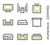 audio video web icons  green...