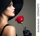 Beautiful Woman With Red Rose....