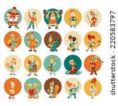 group of cute cartoon sportsmen ... | Shutterstock .eps vector #220583797