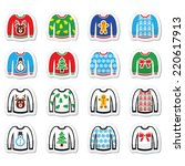 ugly christmas sweater on... | Shutterstock .eps vector #220617913